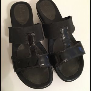 Cole Haan Nike Air Black Patent Wedge Sandal